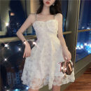 Dress Summer 2020 White, black S, M Short skirt singleton  Sleeveless commute V-neck High waist Socket Princess Dress camisole 18-24 years old Type A Retro Bright silk