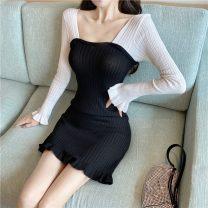 Dress Autumn 2020 Blue, black S,M,L Short skirt singleton  Long sleeves commute square neck High waist Socket other Others 18-24 years old Type H Korean version bow