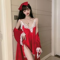 Pajamas / housewear set female Other / other S, M other Long sleeves sexy pajamas spring V-neck Solid color Socket youth 2 pieces lace C0107