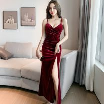 Dress Autumn 2020 Red, blue, black S,M,L,XL longuette singleton  Sleeveless commute V-neck High waist Solid color zipper One pace skirt camisole 18-24 years old Type H Korean version
