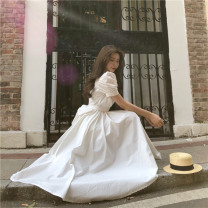 Dress Summer 2020 White, emerald green, yellow, black Average size Mid length dress singleton  Short sleeve commute Crew neck High waist Solid color zipper Big swing puff sleeve Others 18-24 years old Type A Korean version bow