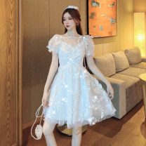 Dress Summer 2021 white S,M,L Short skirt singleton  Short sleeve commute square neck Princess Dress puff sleeve Others 18-24 years old Type A court D0317 polyester fiber