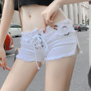 Jeans Spring 2020 White, black S,M,L Super shorts low-waisted Straight pants routine 18-24 years old Cotton elastic denim Dark color