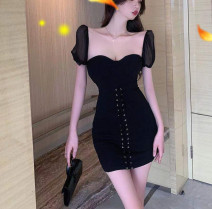 Dress Summer 2021 black S,M,L Short skirt singleton  Short sleeve commute One word collar High waist Solid color Socket One pace skirt puff sleeve 18-24 years old Type A Korean version Bandage C0329