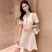 Dress Spring 2020 White, black S,M,L Miniskirt singleton  Short sleeve commute One word collar High waist zipper other other Others 18-24 years old Type H Other / other Korean version Frenulum four point two four