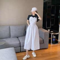 Dress Summer 2021 White, black Average size Miniskirt Fake two pieces Short sleeve commute Crew neck High waist Solid color Socket other other Others 18-24 years old Korean version #0329
