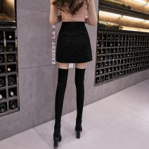 skirt Winter 2020 S,M,L,XL black Short skirt commute High waist A-line skirt Solid color Type A 18-24 years old A1022 51% (inclusive) - 70% (inclusive) corduroy other Korean version