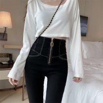 Casual pants black S,M,L Spring 2021 trousers Pencil pants High waist commute routine 18-24 years old 81% (inclusive) - 90% (inclusive) cotton Korean version cotton