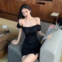 Dress Spring 2021 black S,M,L Short skirt singleton  Short sleeve commute One word collar High waist Solid color Socket One pace skirt 18-24 years old Type A Korean version
