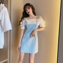 Dress Summer 2020 Blue, pink S,M,L Short skirt singleton  Short sleeve commute One word collar middle-waisted Solid color zipper Princess Dress Lotus leaf sleeve straps 18-24 years old Type A