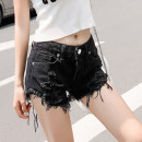 Jeans Spring 2020 black S,M,L shorts Natural waist Straight pants routine 18-24 years old Worn, worn, flanged, zipper, button, scratch Check denim Dark color