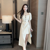 Dress Summer 2021 Apricot, black S,M,L,XL Miniskirt singleton  Short sleeve Sweet square neck middle-waisted Solid color zipper Irregular skirt 18-24 years old Type A Other / other Asymmetry #0311 81% (inclusive) - 90% (inclusive) other polyester fiber college