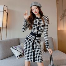 Dress Autumn 2020 Picture color S,M,L Middle-skirt singleton  Long sleeves commute Crew neck houndstooth  Socket One pace skirt routine Others 18-24 years old Type A Splicing
