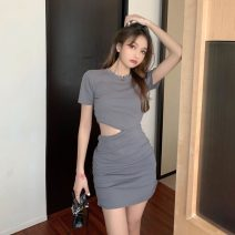 Dress Summer 2020 Gray, black Average size Short skirt singleton  Short sleeve commute Crew neck High waist Socket A-line skirt routine 18-24 years old Type A Korean version Hollowing out