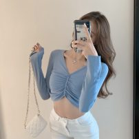 T-shirt White, blue, black Average size Autumn 2020 Long sleeves V-neck Self cultivation have cash less than that is registered in the accounts routine commute cotton 71% (inclusive) - 85% (inclusive) 18-24 years old Korean version Solid color #1002 Button