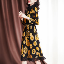 Dress Spring 2021 Decor M L XL 2XL Mid length dress singleton  Nine point sleeve commute stand collar middle-waisted Big flower Socket A-line skirt puff sleeve Others 35-39 years old Sgediya / Santa Cordia Korean version Lace up printing 1001-82093101 31% (inclusive) - 50% (inclusive) polyester fiber
