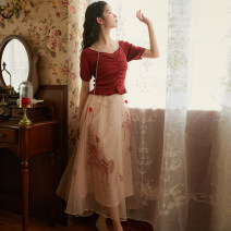 skirt Summer 2020 S,M,L Apricot Pink Mid length dress Sweet High waist A-line skirt Animal design Type A 91% (inclusive) - 95% (inclusive)