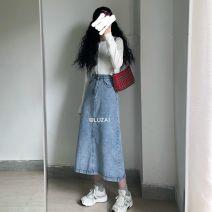 skirt Summer 2020 S,M,L Light blue, dark blue Mid length dress Versatile High waist Denim skirt Solid color Type A 18-24 years old 51% (inclusive) - 70% (inclusive) Denim pocket
