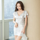 Dress Summer 2020 White, black, blue S,M,L,XL,2XL Short skirt singleton  Short sleeve commute V-neck High waist Solid color Socket One pace skirt routine Others 18-24 years old Type X Woman in clothes Korean version 71% (inclusive) - 80% (inclusive) knitting other