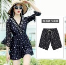 one piece  Ginger M,L,XL,XXL,XXXL Black, men's pants Skirt one piece With chest pad without steel support Spandex, polyester female Long sleeves Casual swimsuit Solid color, wave point