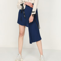 skirt Autumn of 2018 S M L Blue (second delivery) Mid length dress street High waist Irregular Solid color Type A 18-24 years old More than 95% other