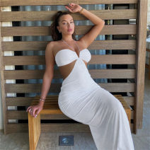 Dress Spring 2021 White, black S,M,L longuette singleton  street middle-waisted Solid color Socket One pace skirt Hanging neck style Hollowed out, bare back 81% (inclusive) - 90% (inclusive) polyester fiber Europe and America