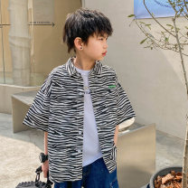shirt Black and white stripe, black and white stripe 1 Zhen Youfan male summer Short sleeve leisure time Zebra pattern cotton Lapel and pointed collar Cotton 100% Class B