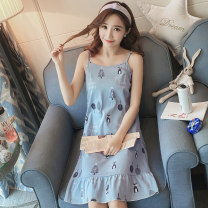 Nightdress Other / other 160(M),165(L),170(XL),175(XXL) Simplicity camisole pajamas Middle-skirt summer other youth Crew neck cotton printing More than 95% pure cotton 200g and below
