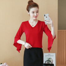 Women's large Summer 2021 White, red, yellow Large XL, large L, s, m, 2XL singleton  commute Straight cylinder Socket Solid color Korean version V-neck Medium length 18-24 years old