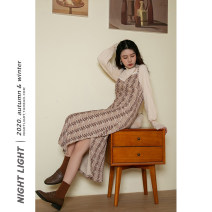 Dress Winter 2020 Apricot, black S,M,L Mid length dress singleton  Sleeveless V-neck Loose waist houndstooth  Socket A-line skirt routine camisole 18-24 years old Type A Other / other Stitching, lace 202-152-13 51% (inclusive) - 70% (inclusive) other other