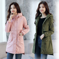 short coat Winter of 2019 M,L,XL,XXL Black, army green, pink Long sleeves Medium length routine singleton  Self cultivation commute routine Hood zipper Solid color 18-24 years old Other / other Zipper, patch