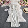 Dress Autumn 2020 Black, white, gold L,M,S singleton  Long sleeves commute square neck High waist Solid color Socket A-line skirt routine camisole 18-24 years old Type A Korean version 30% and below other other