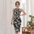 Dress Summer of 2019 Decor S,M,L,XL Mid length dress singleton  Sleeveless Crew neck High waist Decor other other Others 18-24 years old Type H Other / other