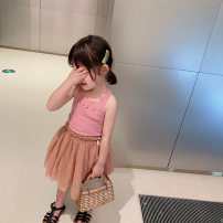 Vest sling Lotus root Pink Knitted vest 80cm, 90cm (fruit size), 100cm, 110cm, 120cm, 130cm summer UTOUTO There are models in the real shooting 2 years old, 3 years old, 4 years old, 5 years old, 6 years old, 7 years old