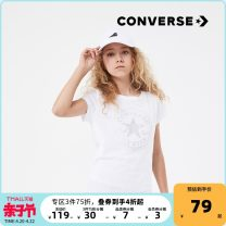 T-shirt Pure white new 1 new 2 new 3 new 4 new 5 Converse / converse 110cm(4) 110cm(5) 120cm(6) 130cm(7) 140cm(S) 150cm(M) 155cm(L) 155cm(XL) female summer Short sleeve Crew neck leisure time There are models in the real shooting cotton other Cotton 100% 92122TS269 Summer 2021