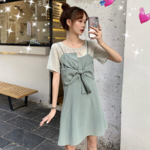Dress Autumn of 2019 Mint green T-shirt + Mint Green Dress, rice apricot T-shirt + purple dress, rice apricot T-shirt + black polka dot dress S,M,L,XL Short skirt Two piece set Sleeveless commute other High waist Solid color Socket A-line skirt other camisole Type A Retro L073101