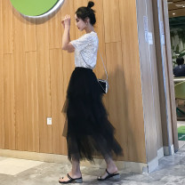 skirt Spring 2021 The recommended height is 150-165 for 76cm and 165-175 for 86cm Apricot, black, gray, [silver glitter top] Mid length dress commute High waist Irregular Solid color 18-24 years old A198 Yizidai Korean version
