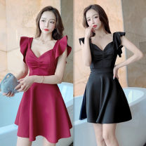 Dress Summer 2021 Black, Burgundy, apricot, green S,M,L,XL Short skirt singleton  Short sleeve Sweet V-neck Solid color Socket A-line skirt Flying sleeve Others Ruffle, open back, zipper 81% (inclusive) - 90% (inclusive) other other