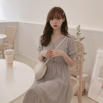 Dress Spring 2021 Apricot, grey, white S,M,L,XL longuette singleton  Short sleeve commute V-neck middle-waisted Solid color Socket Big swing bishop sleeve Others Type A Other / other Korean version Chiffon