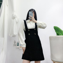 Dress Winter 2020 S,M,L Short skirt singleton  Long sleeves commute One word collar High waist Solid color double-breasted A-line skirt straps Type A Korean version Button
