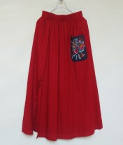 skirt Summer 2020 Average size Red, dark blue Middle-skirt commute Big flower 35-39 years old 91% (inclusive) - 95% (inclusive) hemp Embroidery, pockets, folds ethnic style