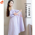 Dress Summer 2020 violet S, M Mid length dress singleton  Short sleeve Sweet V-neck High waist Solid color other puff sleeve Others Type X Frenulum