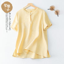 T-shirt S M L XL Summer 2021 Short sleeve Crew neck Straight cylinder Regular routine commute hemp 96% and above literature other zigezi T3061 Flax 100% Pure e-commerce (online only)