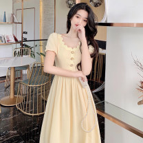 Dress Summer 2021 Yellow, black S,M,L Mid length dress singleton  Short sleeve commute Crew neck High waist Solid color Socket A-line skirt puff sleeve Others 18-24 years old Type A Other / other Korean version