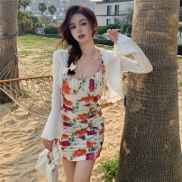 Dress Summer 2021 Cardigan , Floral suspender skirt S. M, average size Short skirt singleton  Sleeveless commute High waist Broken flowers other routine camisole 18-24 years old Other / other Korean version 31% (inclusive) - 50% (inclusive)