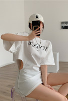 Dress Summer 2021 White, black Average size Short skirt singleton  Short sleeve commute other High waist letter other routine Others 18-24 years old Other / other Korean version Cut out, zipper, print