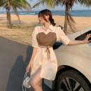 Dress Summer 2021 Apricot + sling, white + sling Average size Mid length dress singleton  Short sleeve commute Polo collar High waist Solid color Single breasted A-line skirt routine Others 18-24 years old Type A Other / other Korean version 31% (inclusive) - 50% (inclusive) other