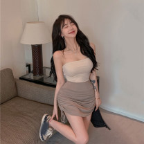 skirt Summer 2021 Average size White vest, white skirt, black vest, black skirt, Khaki Skirt, light Khaki vest Short skirt commute High waist A-line skirt Solid color 18-24 years old Other / other Korean version