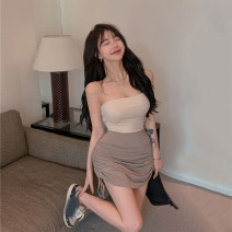 skirt Summer 2021 Average size White vest, white skirt, black vest, black skirt, Khaki Skirt, light Khaki vest Short skirt commute High waist A-line skirt Solid color 18-24 years old Other / other Korean version