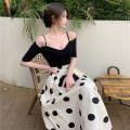 skirt Summer 2021 S, M Apricot polka dot skirt, black base shirt Mid length dress commute High waist A-line skirt 81% (inclusive) - 90% (inclusive) Other / other